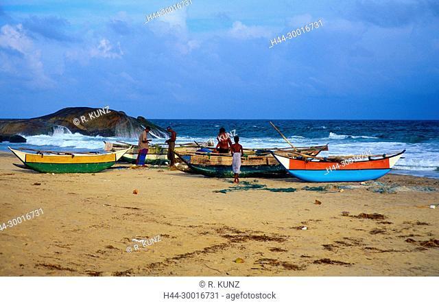 Fishermen, fishing boats, coast, beach, rocks, sea, Indian ocean, breakwater, Sri Lanka