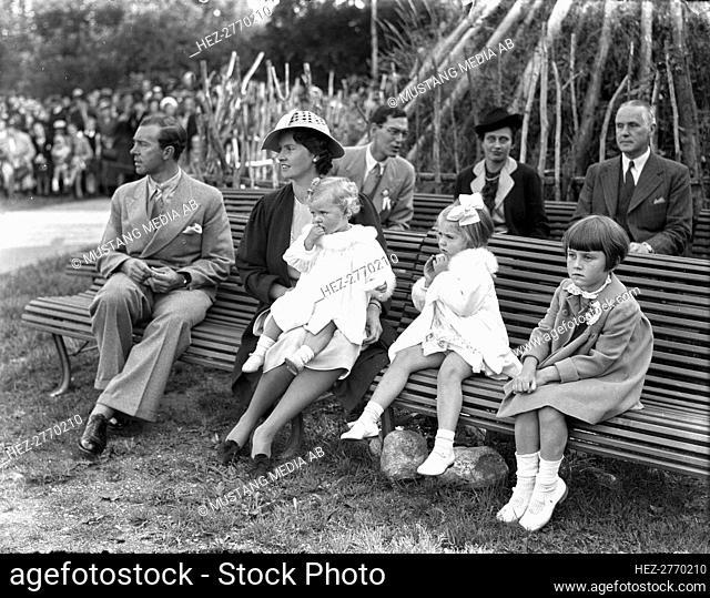 Prince Gustav Adolf, Princess Sibylla and children, Children's Day, Stockholm, Sweden, 1938. Creator: Unknown