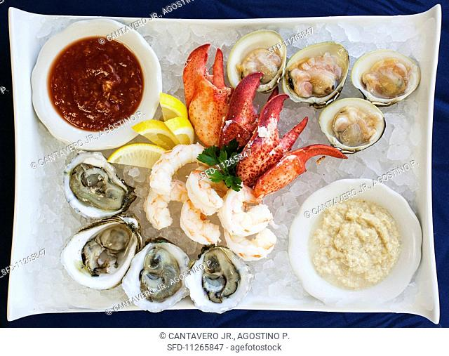 Seafood platter with two dips