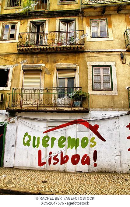 Sign in Alfama District, Lisbon, Portugal
