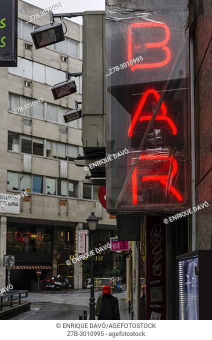 An entrance bar view closed to Gran Vía street in the center of Madrid city, Spain