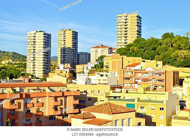 Cityscape, apartment buildings. Montgat, Barcelona province, Catalonia, Spain