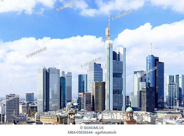 Europe, Germany, Hessia, Frankfurt, financial district, skyline with the high rises Main gate, eurotower, Gallileo, silver tower, Skyper, Taunus tower, K26