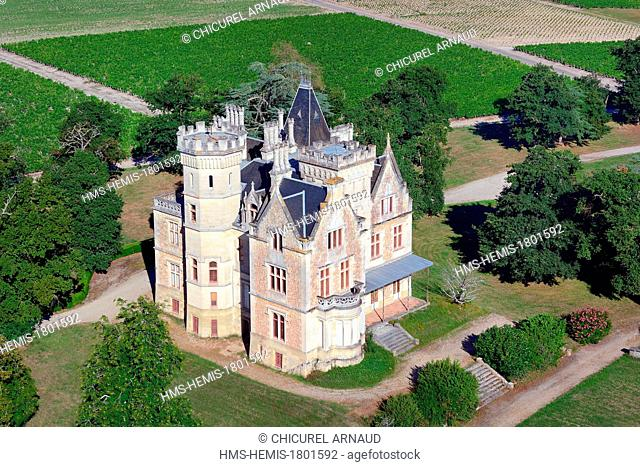 France, Gironde, Cussac Fort Medoc, the estate of chateau Lachesnaye in the Medoc region where a wine Cru Bourgeois Superieur is produced (aerial view)