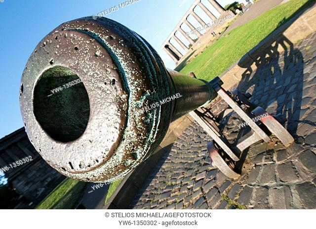 Cannon on Calton Hill, in Edinburgh,Scotland