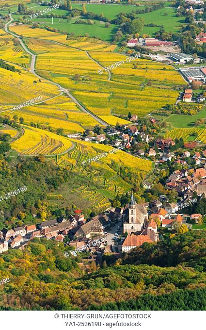 France, Bas Rhin 67, wines road, village of Andlau, vineyards in autumn aerial view