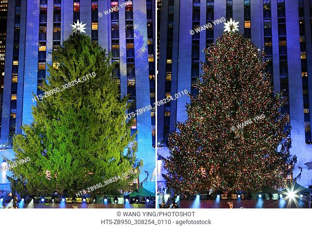 (171130) -- NEW YORK, Nov. 30, 2017 () -- Combo photo shows the Christmas tree before and after being lighted during the 85th Christmas Tree Lighting Ceremony...
