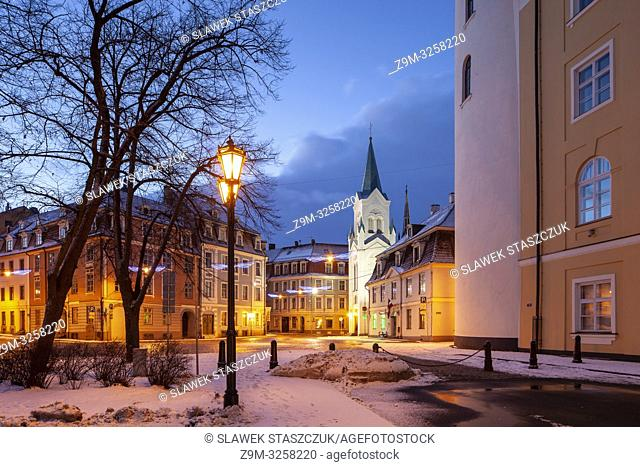 Winter dawn in Riga old town, Latvia