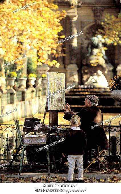 France, Paris, Jardin du Luxembourg, painter in front of Medicis fountain