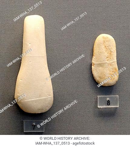 Cycladic figurine, from Naxos, Greece, Early Cycladic culture evolved in three phases, between c. 3300 - 2000 BCE, when it was increasingly swamped in the...