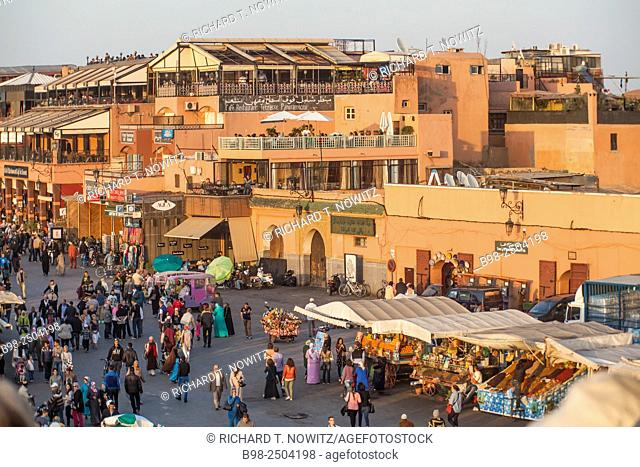 The Jamaa El Fna Square is a North Africa's equivalent to a three ring circus, with snake-charmers, dancers, musicians, carnival games and food vendors