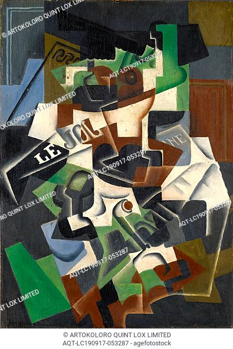 Compotier, pipe et journal, 1917 (November), oil on plywood, 92 x 65.5 cm, signed, inscribed and dated lower left: Juan Gris, Paris 11-17, Juan Gris