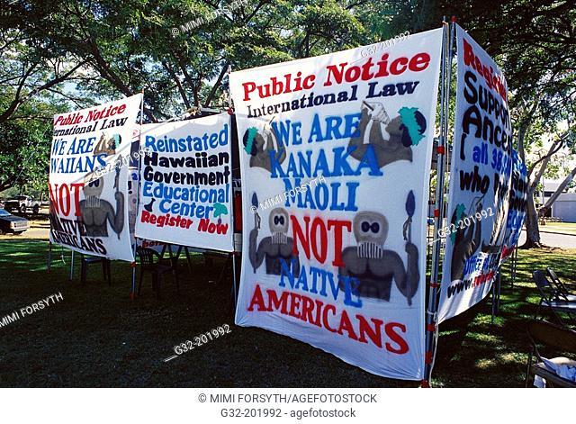 'We are Kanaka Maoli, not native Americans' sign. Oahu. Hawaii. USA