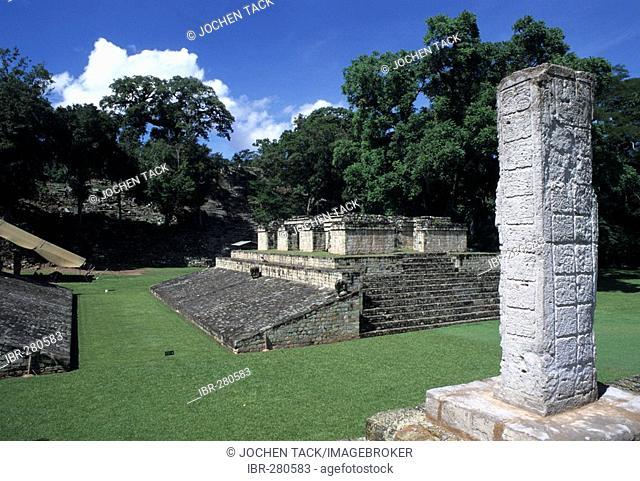Ballcourt and relief of stone 2, Maya ruins of Copan, Honduras