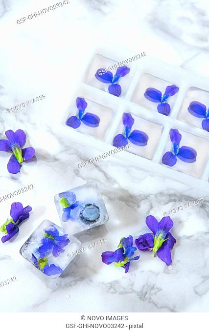 Ice Cubes with Edible Flowers