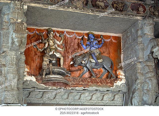 Sculptures inside Virupaksha temple. Mythological story Of Lord Shiva and Yamaraja