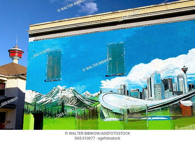 Stampede Park arena mural and tower. Calgary. Alberta, Canada