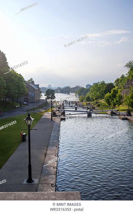 Locks in Rideau Canal under blue sky, Ottawa, Ontario, Canada