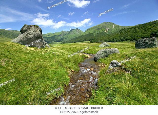 Fontaine Salee valley, Monts Dore, Parc Naturel Regional des Volcans d'Auvergne, Auvergne Volcanoes Natural Regional Park, Puy de Dome, France, Europe