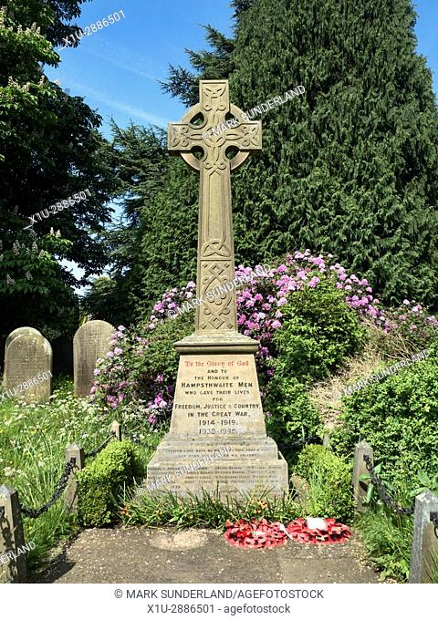 War Memorial near St Thomas a Becket Churchyard at Hampsthwaite North Yorkshire England