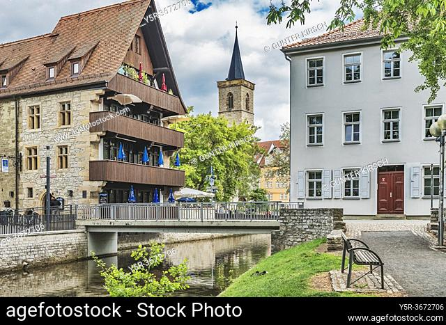 View from the little dam (Daemmchen) over the river Gera to the house at the stone corner and the tower of the Aegidienkirche, Erfurt, capital of Thuringia