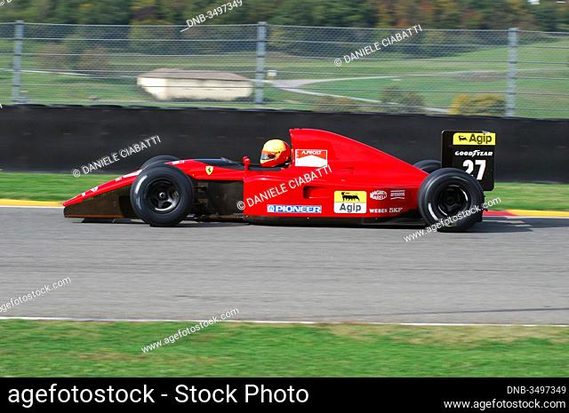 MUGELLO, IT, November, 2007: Unknown run with Historic Ferrari 643 F1-91 1991 ex Alain Prost during Finali Mondiali Ferrari 2007 into the mugello circuit in...