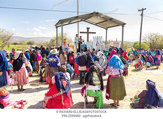 Indigenous pilgrims gather for outdoor mass on the pilgrimage route to the Sanctuary of Atotonilco an important Catholic shrine in Atotonilco, Mexico