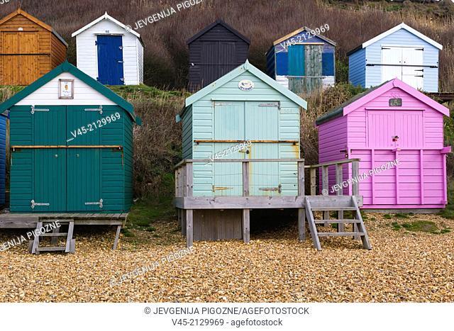 Sea coast with beach huts, Milford on Sea, Hampshire, South England, UK