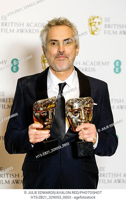 Alfonso Cuarón poses backstage at the British Academy Film Awards on Sunday 10 February 2019 at Royal Albert Hall, London