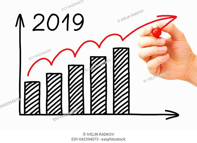 Hand drawing business success growth graph for year 2019 with marker on transparent wipe board isolated on white