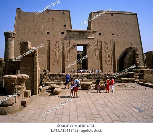 The Temple of Edfu is an ancient Egyptian temple located on the west bank of the Nile in the city of Edfu. The temple, dedicated to the falcon god Horus