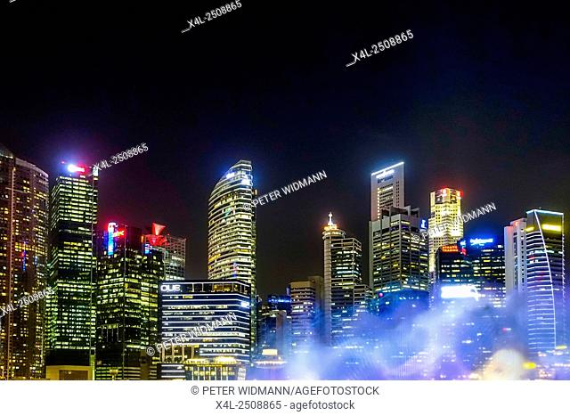 Skyline of Finance District in Singapore night, Southeast Asia