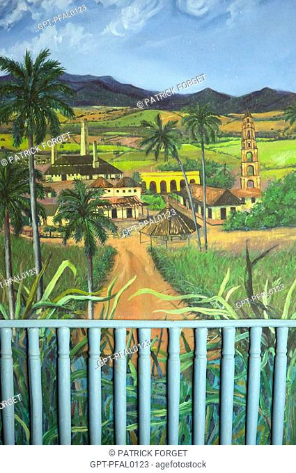 UNSIGNED CONTEMPORARY PAINTING REPRESENTING SUGAR CANE FARMING, THE HACIENDA, THE SUGAR FACTORY AND THE TORRE DE MANACA IGNAZA (44 METRES HIGH)