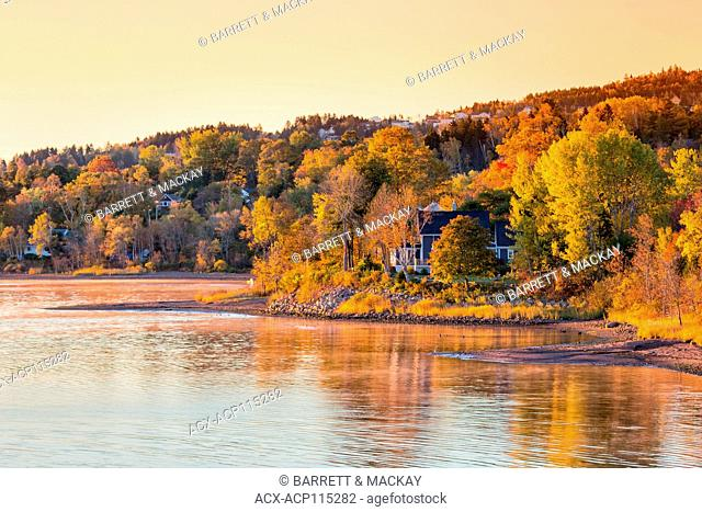 Fall colors along the Saint John River, Grand Bay-Westfield, New Brunswick, Canada