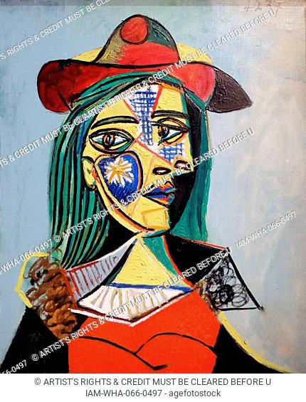 Woman in Hat and Fur collar by Pablo Picasso (1881-1973) Spanish painter, sculptor, printmaker and ceramicist. Dated 1937