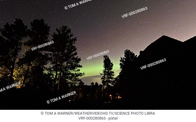 Timelapse footage of a surprise aurora on the night of 24th April 2012, easily visible as far south as Rapid City, South Dakota, USA