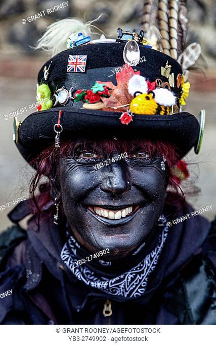 A Female Morris Dancer, Lewes Folk Festival 2016, Lewes, Sussex, UK