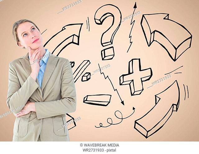 Businesswoman sketches on wall against a neutral background