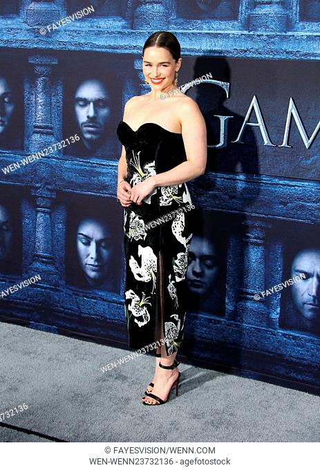 "Los Angeles Premiere for season 6 of HBO's """"GAME OF THRONES"""" Featuring: Emilia Clarke Where: Hollywood, California, United States When: 10 Apr 2016 Credit:..."