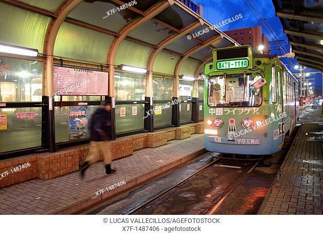 Tram in Tusukisamu dori, Susukino entertainment district , Sapporo, Hokkaido, Japan