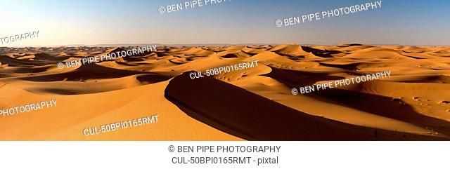 Sand dunes in rural landscape