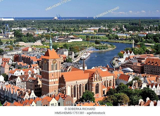 Poland, Pomerania, Gdansk, View of Gdansk and the Church of St. John from the top of St. Mary's Basilica