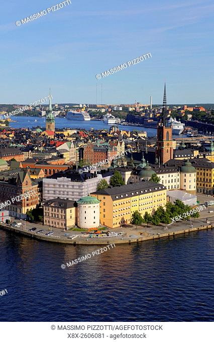 Aerial view of Gamla Stan (Old city) in Stockholm, Sweden