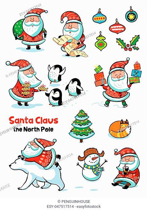 Collection of cartoon Santa Claus. Characters set. Holiday vector illustration