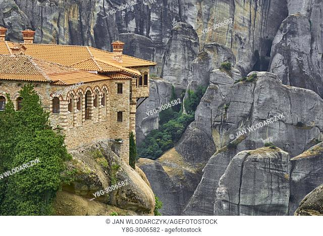 Varlaam Monastery at sunset time, Meteora, Greece