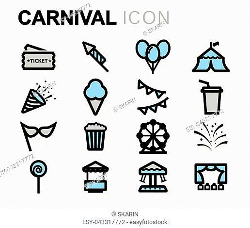 Vector flat carnival icons set on white background