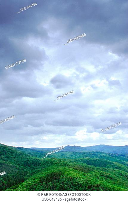 Nimbus clouds and mountains, Siebengebirge, Königswinter, Germany