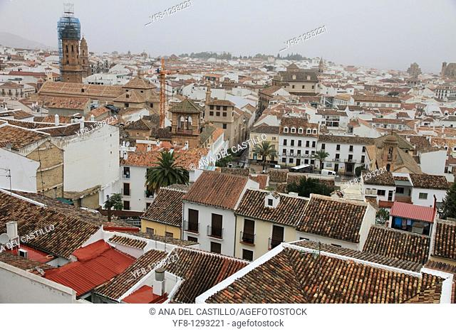 Antequera town view from above, Malaga province, Andalusia, Spain
