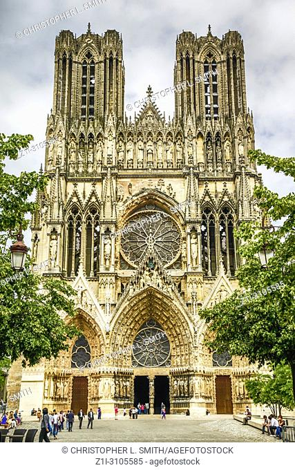 Architectural detail outside the medieval Cathedral in Reims, a UNESCO site in France