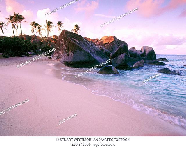 Coastline at sunset. Virgin Gorda Island. British Virgin Islands. West Indies. Caribbean